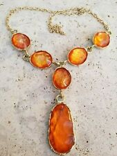 NEW BEAUTIFUL LARGE NECKLACE BRIGHT ORANGE MARBLED COLOR RESIN STONES