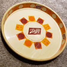 "Vintage 1968 SCHLITZ BEER Bar Advertising Metal 13"" Serving Tray Tip Tray RARE"