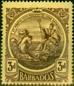 Barbados 1919 3d Dp Purple-Yellow SG186a Thick Paper Fine Lightly Mtd Mint