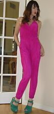 NWT Nordstrom brand PINK All in One micro pleat Draped Halter JUMPSUIT M $110.00