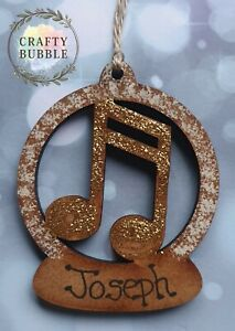 HANDMADE PERSONALISED MUSIC NOTE CHRISTMAS TREE BAUBLE ORNAMENT.WOODEN