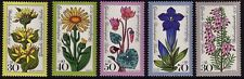 GERMANY MNH STAMP DEUTSCHE BUNDESPOST BERLIN 1975 ALPINE FLOWERS  SG B494 - 498
