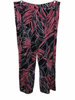 Susan Graver Women's Printed Liquid Knit Pull-On Pants Black/Red 1X Plus Size