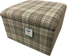 "SIZE 20"" x 20"" x 14"" POUFFES WITH STORAGE IN A QUALITY LATTE TARTAN FABRIC"