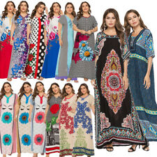 Ramadan Ethnic Floral Abaya Women Boho Long Dress Summer Robe Jilbab Plus Size