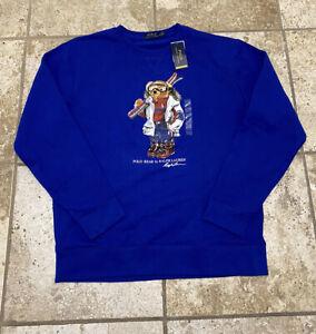 Polo Ralph Lauren Ski Skiing Bear Crewneck Sweatshirt Sweater Blue NWT Men's XL