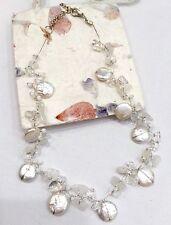 Necklace Gemstone Quartz Mother Of Pearl Clear Silk Thread White Handmade