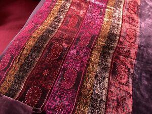Velvet And Silk Beaded Bedspread/Throw