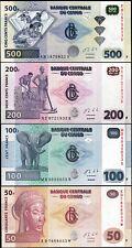 Congo 4 Pcs SET , 50 100 200 500 Francs 2013 , UNC , P-96d, P-97A, P-98b, P-99b