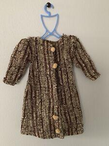 """vintage doll dress 24"""" Tweed Coat Brown Cream"""