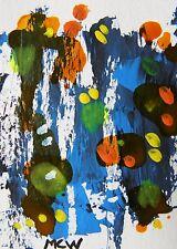 ORIGINAL ACEO ABSTRACT Sky Outsider painting Mary Carol  MCW Folk ART  ATC
