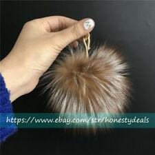 "10cm 4"" Golden Crystal Brown Real Fox Fur Bag Charm Pom pom Fur Ball Keychain"