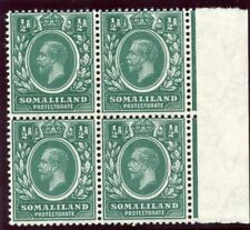 Somaliland 1912 KGV ½a green (wmk inverted) block superb MNH. SG 60w.