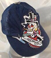 Ed Hardy Ball Cap Tattoo Wear SnapBack Vintage Trucker Hat Denim w/Embroidery