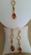 SPECIAL OCCASION & BRIDAL CUBIC ZIRCONIA 18K GOLD PLATED NECKLACE & EARRING SET