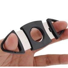 Black Stainless Steel Pocket Cigar Cutter Double Blades Knife Scissors Gift FT