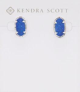 Kendra Scott Ellie Oval Stud Earrings in Cobalt Drusy and Rhodium