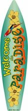 """Welcome To Paradise Metal Surfboard Sign 17"""" x 4.5"""" ↔ Beach Pool Home Wall Decor"""