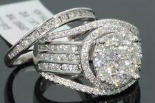 10K WHITE GOLD 2.23 CARAT WOMENS REAL DIAMOND ENGAGEMENT RING WEDDING BAND SET