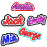 "PERSONALISED NAME PATCH EMBROIDERED IRON ON SEW ON TAG BIKER HAT 3.5"" SCHOOL"