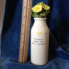 Ceramic Sisters Make the Best Friends Bottle Yellow Flowers Cork Stopper
