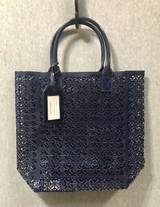 Tory Burch Blue Lace Perforated Faux Patent Leather Large Tote Bag/Handbag