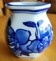Blue and white Floral design Octagon small vase Made in China c.p.