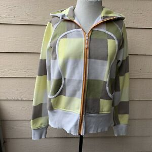 Lululemon Scuba Remix Plaid Hoodie Jacket Long Sleeve Women Yellow Full Zip 12