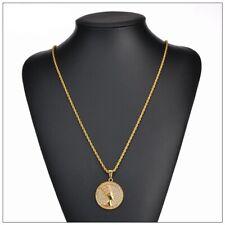 Gold Coin medallion Chain necklace Egyptian sphinx pharaoh pendant Hip Hop