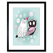 Painting Cartoon Birds Owl Pigeon Love Heart Vector Framed Print 9x7 Inch