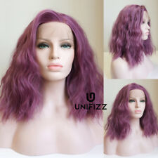 16 Inches Party Medium Bob Ladies Curly Women Hair Ash Purple Lace Front Wig