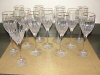 MIKASA GOLDEN LIGHTS CRYSTAL WINE CHAMPAGNE GLASSES (STILL HAS STICKER ON)
