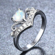 Opal Ring Wedding Jewelry Size 10 Fashion Silver White Heart Shaped simulated