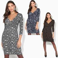 Damen Knielanges Wickelkleid Midi Kleid V-Ausschnitt Große Größen 36 - 46