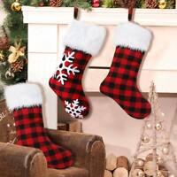 Large Red & Black Buffalo Christmas Stocking Gift Bag Xmas Tree Ornament Decor