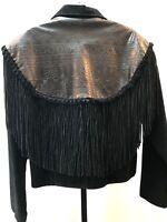 VTG Western Fringed Jacket Leather Cowgirl Southwestern Embossed Medium Rodeo US