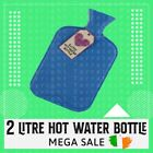 2 Litre Liter Hot Water Bottle Bed Hand Natural Rubber Warmer Screw Top Quality