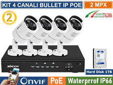 KIT VIDEOSORVEGLIANZA IP POE NVR 8 CANALI 4 TELECAMERE BULLET 2MP HARD DISK 1TB