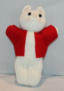 "handcrafted handmade 9"" sock doll mouse w/ red felt jacket stuffed animal"
