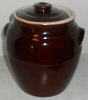 """BROWN CROCK UHL POTTERY CO HUNTINGBURG 9"""" TALL WHITE INSIDE PICKLE OR BUTTER POT"""