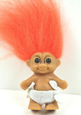 "Vintage RUSS Baby Troll Doll 2"" with Diaper Orange Hair Very Clean"
