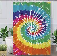 Rainbow Tie Dye Shower Curtain Waterproof Bathroom Home Decor Hooks