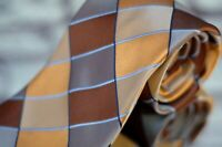 Ike Behar Men's Tie Brown Gold & Blue Check Woven Silk Necktie New