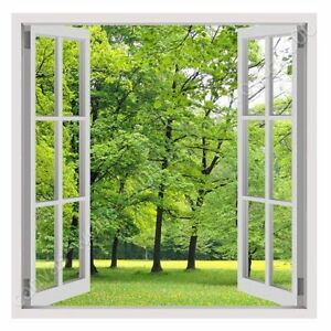 Green Nature by Fake 3D Window | Ready to Hang Canvas | Wall art paint picture