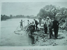 """ANTIQUE PRINT C1904 FISHING VINTAGE """"A GOOD HAUL ON THE WYE"""" FLY FISHING SPORT"""
