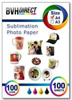 100x A4 Sublimation Paper Iron On Heat Press Transfer Paper MUGS Crafts Tshirt