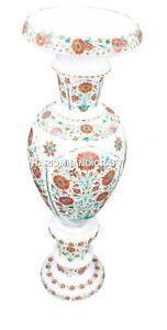 Antique White Marble Flower Vase Hakik Inlay Stone Malachite Floral Design H512
