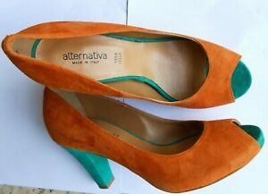 alternativa scarpe donna N.41 alternative women's shoes #41 vera pelle e velluto