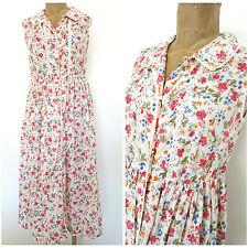 Vintage 80s Peasant Floral Dress Size Medium Sheer Cotton Crochet Lace BOHO
