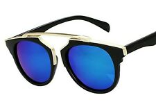 CHUNKY BLUE LENSE BLACK & GOLD FRAME SHAPED SUNGLASSES GOTHIC/DRACULA/WHITBY